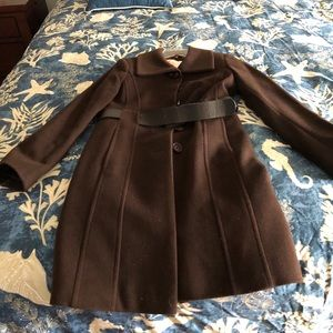 Brown wool/cashmere jacket with belt